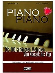 Piano Piano 1mittelschwer-100plus belles Mélodies de classique à Pop-pour Piano-Note livre avec cœur Note colorée Pince