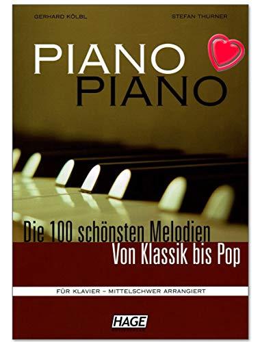 Piano Piano 1 mittelschwer - 100 schönsten Melodien von Klassik bis Pop - für Klavier mittelschwer arrangiert - Notenbuch mit bunter herzförmiger Notenklammer - EH3643 - ISBN: 9783930159888