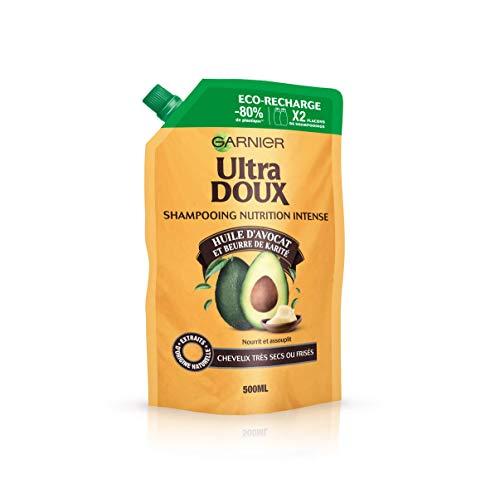 Garnier Ultra Doux - Huile dAvocat/Beurre de Karité Eco-Recharge de Shampoing Nutrition Intense Nourrit et assouplit pour Cheveux Très Secs/Frisés - 500 ml