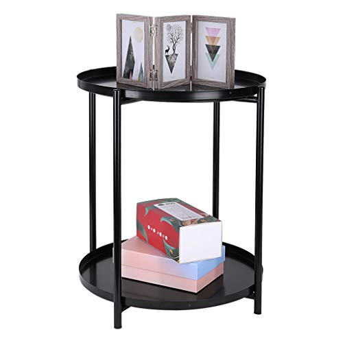 Coffee Desk,Sofa Side End Table Computer Desk,Tray Metal End Table Small Round Side Tables Outdoor & Indoor Table Coffee Table for Small Spaces Snack Table Table For Living Bed Room Kitchen (Black)