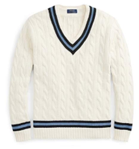 Polo Ralph Lauren Cotton Cricket Cable Knit Striped V-Neck Sweater (Chic Cream, X-Large)