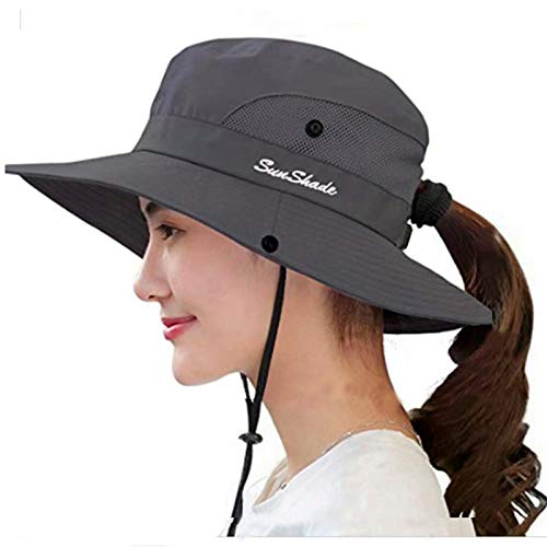 Womens UV Protection Wide Brim Sun Hats - Cooling Mesh Ponytail Hole Cap Foldable Travel Outdoor Fishing Hat Grey