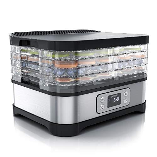 Arendo - Essiccatore Elettrico a 5 ripiani - 260 W - Disidratatore per alimenti frutta verdura carne funghi - timer fino a 72 h - 35-70 gradi C - BPA Free - Essiccatrice