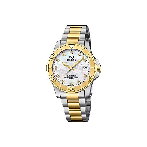JAGUAR Reloj Modelo J896/3 de la colección Woman, Caja de 34 mm Blanco con Correa de Acero Bicolor para señora
