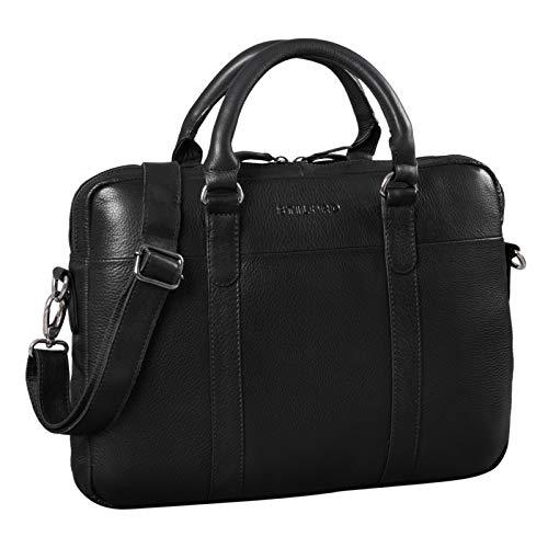 STILORD 'Laslo' zakelijke tas leer groot voor mannen 13,3 inch laptoptas DIN A4 hoge kwaliteit vintage handtas schoudertas echt leer, Kleur:obsidiaan zwart