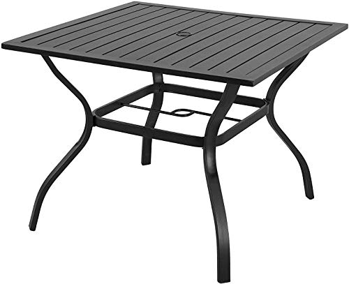 EMERIT Outdoor Patio Bistro Metal Dining Table with Umbrella Hole 37'x37',Black (Dining Table)