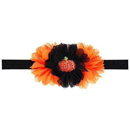 Demarkt 1 Pcs Enfants Bandeau Bébé Cheveux Nœud Pumpkin Mousseline de Soie Headbands Elastique Extensible Humidité Fleur Hairband Twisted Cute fleurHair pour Accessoire Cosplay Halloween 11 * 16cm