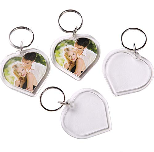 25Pcs Acrylic Photo Frame Keychains - Clear Heart-Shaped Blank Personalized Keyrings Snap in Insert Custom DIY Picture Frames Keyrings Key Holder for Lovers