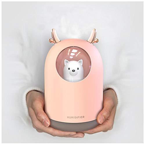Guwheat Cool Mist Mini-Luftbefeuchter mit einstellbarem Nebelmodus, 300 ml Wassertank, leiser Betrieb, 7-farbiges LED-Nachtlicht für Baby, Schlafzimmer, Haushalt, Büro (Bär Rosa)
