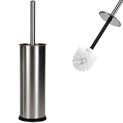 Toilettenbürste WC Bürste | mit Edelstahlgriff | austauschbarem Bürstenkopf | solider, standfester Edelstahlbehälter | Silber