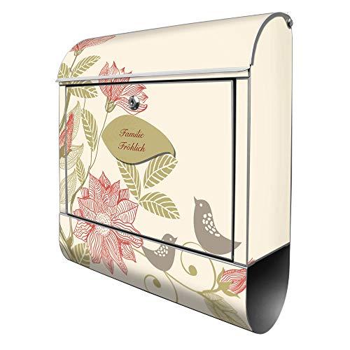 Banjado Design Briefkasten personalisiert mit Motiv WT Vogelhochzeit | Stahl pulverbeschichtet mit Zeitungsrolle | Größe 39x47x14cm, 2 Schlüssel, A4 Einwurf, inkl. Montagematerial