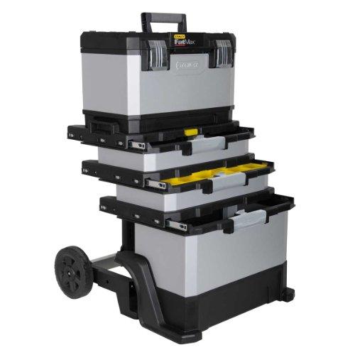 Stanley FatMax Rollende Werkstatt aus Metall-Kunststoff 1-95-622 – Werkzeugwagen leer – Vielseitige Werkzeugbox für Kleinteile und große Werkzeuge