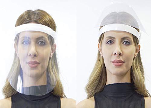 Fredo® Gesichtsschutz Visier aus Polycarbonat - 1 X Halter mit je 2 Wechselfolien- Face Shield - CE- Zertifiziertes Visier - Aufklappbares Gesichtsvisier für Männer/Frauen/Kinder