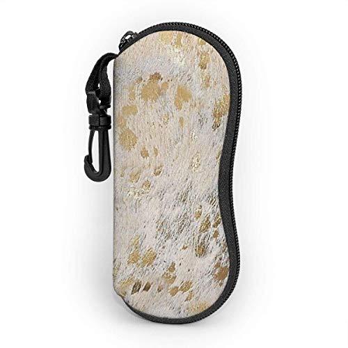 Brave Har Estuche para gafas con mosquetón, estampado de piel de vaca metalizado dorado Estuche blando para gafas de sol de neopreno portátil ultraligero con cremallera