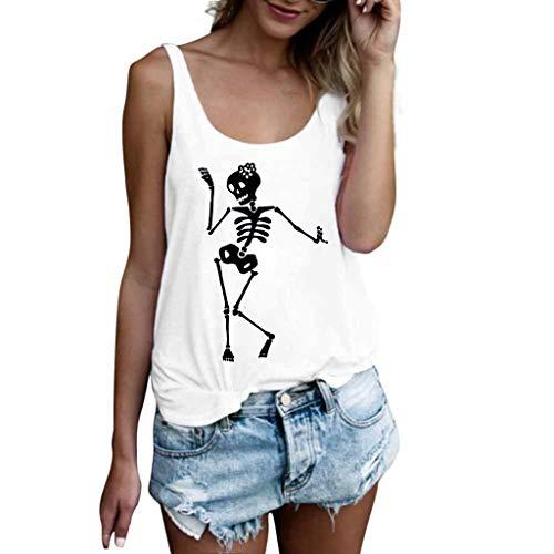 Camiseta sin Mangas con Estampado de Calaveras de Mujer Camiseta de Tirantes Sueltos Camisa Casual Blusa Tops