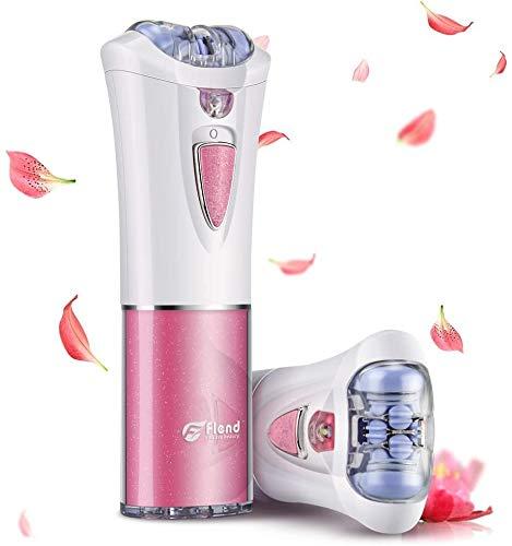 Flend Epilator for Women, Facial Hair Removal Epilator, Battery Powered(No Battery) Trimmer Electric Shaver with LED Light, Mini Cordless Razor for Arm Underarm Chin Bikini Leg