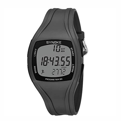 VECOLE Fitness Uhr Schrittzähler Wasserdicht Bewegungszeitrekord Schrittzähler Outdoor-Sport-Multifunktionsuhr (Grau)
