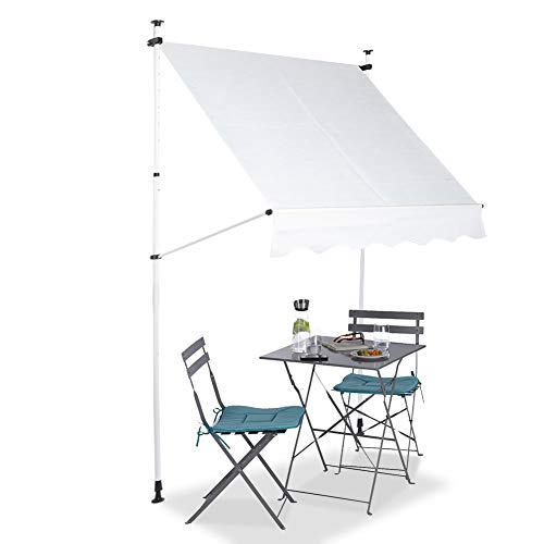 Ejoyous Patio Awning, Outdoor Window Awning Door Canopy Manual Retractable Sunshade Shelter Awning Cover with Manual Crank Handle for Courtyard Garden Balcony Restaurant Cafe (Beige)