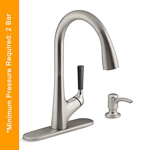 Kohler 562IN-SD-VS Metal 360° Pull-Down Sprayer Kitchen Faucet with Multi-Function Spray Head, Silver, Painted Finish