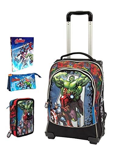TROLLEY ZAINO SCUOLA Avengers Marvel + astuccio 3 piani completo + Diario 2021/2022 + Omaggio astuccio zip e 7 Penne Scatto cancellabili con portachiave gioco cubo e penna multicolore profumata