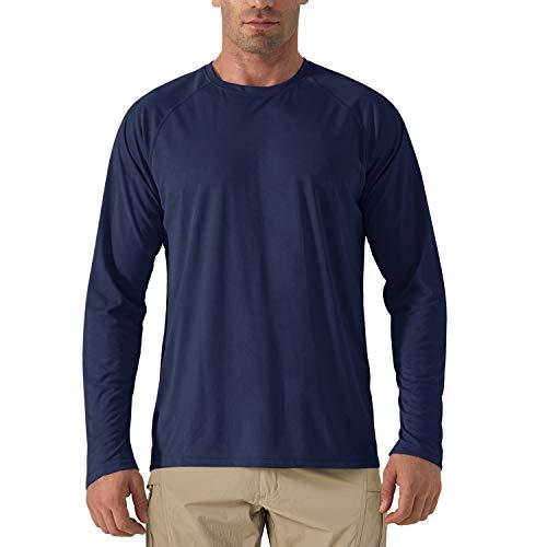KEFITEVD Longsleeve Herren Sport T-Shirt Dünn Atmungsaktiv Langarmshirt Männer Workout Freizeitshirt Outdoor Bekleidung Schwimmen Surf Tshirt Dunkelblau M