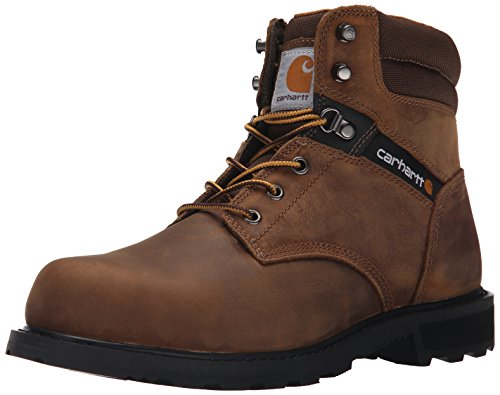 """Carhartt Men's Traditional Welt 6"""" Steel Toe Work Boot Construction, Crazy Horse Brown Oil Tanned, 8.5"""