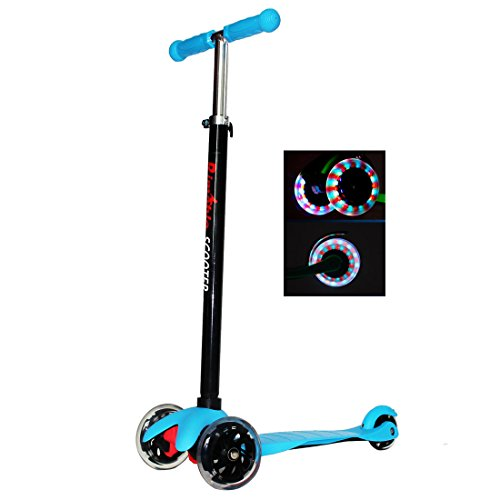 RIMABLE Kids 3 Wheels Adjustable Height Mini Kick Scooter with LED Light Up Wheels (Blue)