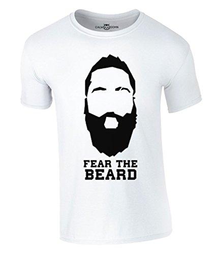 Fear The Beard T-Shirt 2017 New James Harden Houston Rockets NBA (L, Weiss)