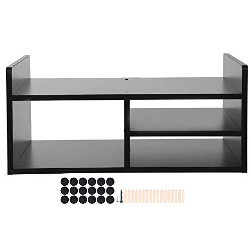 Soporte para impresora de 2 niveles, 3 rejillas, organizador de fax con estantes de panel de partículas, para colocar TV, DVD, portátiles, impresoras, faxes, etc., 51 x 38 x 23 cm