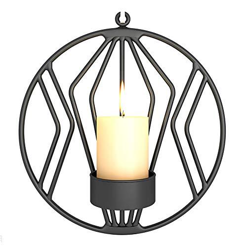 1 unid geométrica de pared candelabro creativo colgante de pared candelabro redondo para decoraciones del hogar negro caliente