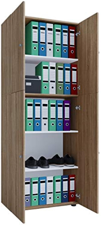 VCM Büroschrank Aktenschrank Bücherregal Standregal Aktenregal Schrank Regal Lona Sonoma-Eiche
