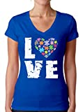 Awkward Styles Women's Love Puzzles Autism Awareness Graphic V-Neck T Shirt Tops Autistic Support (M, Blue)