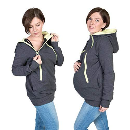 N-B Ropa de Maternidad Otoño E Invierno Ropa de Maternidad Abrigo Multifuncional Canguro con Capucha Ropa de Maternidad Suéter de Abrigo de Bebé Ropa