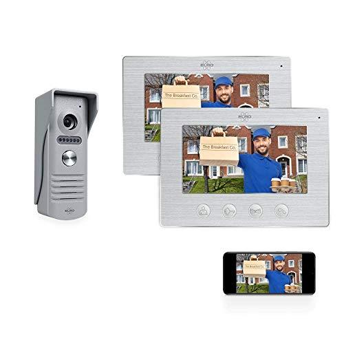 Elro DV50 IP Wifi citofono IP Wifi - con display a colori 2x 7 pollici - visualizza e comunica tramite app con 2 Monitor, Alluminio Spazzolato