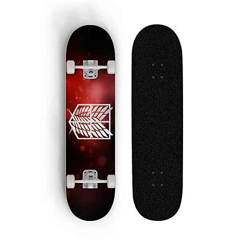Kssmice Skateboard 31 x 8  Complete el patín de Anime, Ataque en Titán, Pro Skateboards Deck Maple Double Kick Patinar for Adolescentes Principiantes Niñas Niños Niños Adultos Máxima Carga 100 kg Hig