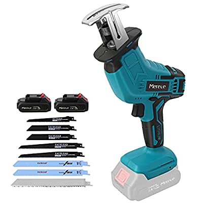"""Reciprocating Saw,Mereced 20V 2.0Ah Cordless Battery Powered Sawzall,8 Saw Baldes,0-2800SPM Variable Speed,7/8"""" Stroke Length,Electric Reciprocating Saw for Metal/Wood/PVC Pipe/Tree(2 Batteries) by Mereced"""