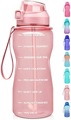 Fidus Large Half Gallon 64oz Motivational Water Bottle with Time Marker Straw Leakproof Tritan product image
