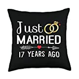 Couple 17 Years Anniversary Gifts Just Married 17 Years Ago Couple 17th Wedding Anniversary Throw Pillow, 18x18, Multicolor