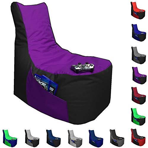 Sitzsack Big Gamer Lounge Ø 80cm Sessel mit EPS Sytropor Füllung In & Outdoor Erwachsene Riesensitzsack Sitzsäcke Sessel Kissen Sofa Sitzkissen Bodenkissen Gaming (Schwarz + Lila)
