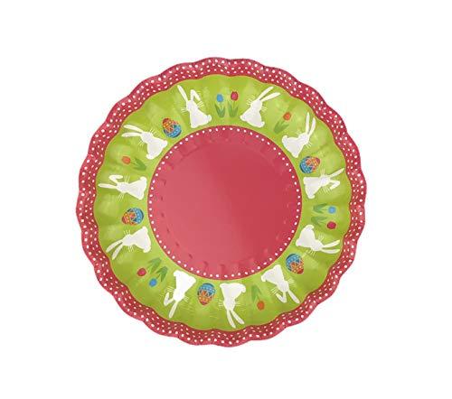 4er Set Osterteller aus Papier/Osternest zum befüllen, Osternester:4x Teller - Häschen Pink