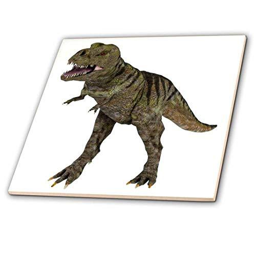3drose CT 178774 1 A Tyrannosaurus Rex dinosaurus attacking-keramische tegels, 4 inch