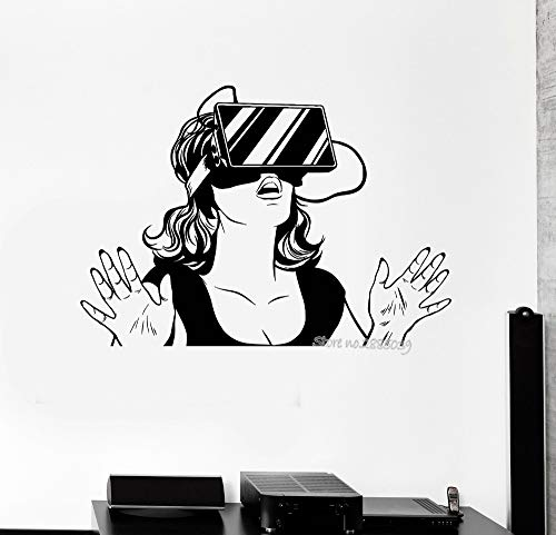 zqyjhkou Cooles Mädchen Vinyl Wandaufkleber Virtual Reality Headset VR Gerät Frau Aufkleber Schlafzimmer Kunstwandhauptdekor Vinilos Paredes L94x67cm
