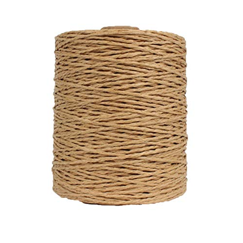 Natural Cotton Raffia Yarn Brown Crochet Summer Sun Hat Yarn,Beach Bag Yarn,Rayon Raffia Crochet Yarn,Crochet Straw Knit Yarn,Knitting Materials,280 Meters/306 Yards
