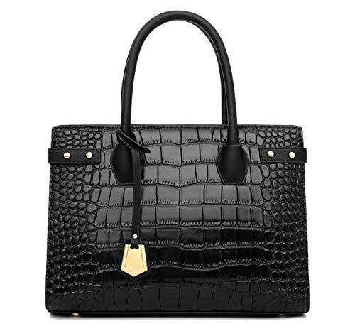 Tisdaini® Mujer Bolsos Bandolera Moda Textura de cocodrilo Proceso de estampado Bolsos totes Bandolera Negro