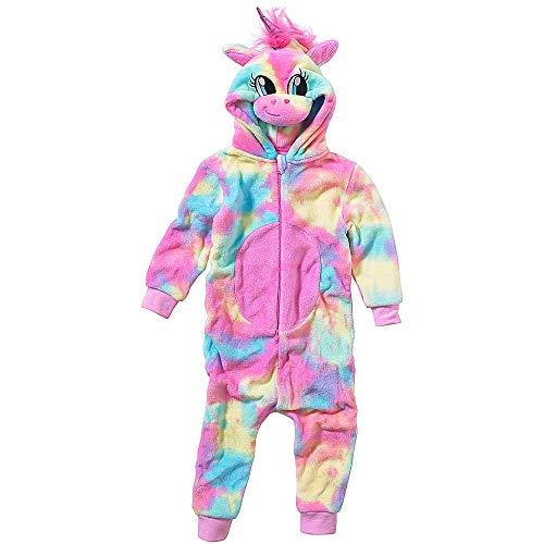 Onesies Animal Crazy Girls Rainbow Unicorn Supersoft Fleece Jumpsuit Playsuit UK Seller - Rainbow - 11/12 Years