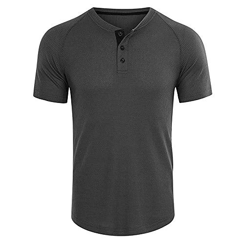 ZYUD Mens T-Shirt Summer Mens Short-Sleeved T-Shirt Mens V-Neck Short-Sleeved European Code Fashion Solid Color T-Shirt Personality Slim Casual Bottoming Shirt Mens Shirts Short Sleeve T Shirt Gray