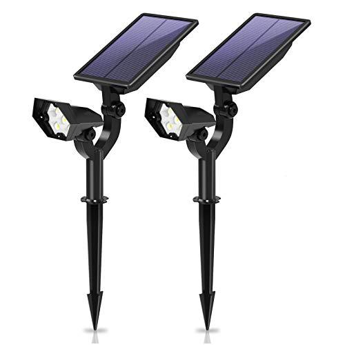 Leolee Solarleuchten Garten, Solarlampen für außen LED Solar Gartenleuchten 2600mAh Solarstrahler mit 3 Helligkeitsstufe IP66 Wasserdicht 2-in-1 Gartenbeleuchtung für Bäume, Garage, Balkon (2 Stück)