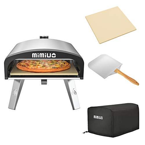 Mimiuo - Forno per pizza a gas per esterni, con regolatore a gas britannico, portatile, in acciaio inox, serie G-Forno classico, con pietra per pizza e pieghevole, 30,5 x 35,6 cm