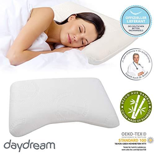 daydream 55x35x10 Kopfkissen mit Wellenform + Lüftungskanälen (P-21200) aus Memory Foam + Bambus-Bezug | Kissen | Kopfkissen | Nackenstützkissen | Schlafkissen | Bettkissen | Nackenkissen | Testsieger