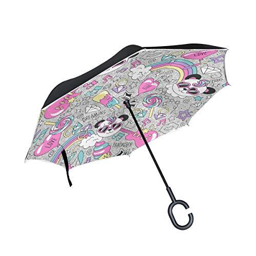 Jeansame Paraplu Reverse Paraplu's Omgekeerde Paraplu Panda Muziek Gitaar Regenboog Grijs Dubbele Laag Zon Regen Winddichte Paraplu met C Vormige Handvat voor Auto Gebruik Mannen Vrouwen